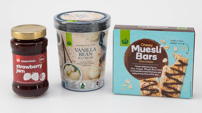 Woolworths house brand products: strawberry jam, vanilla bean ice-cream, muesli bars