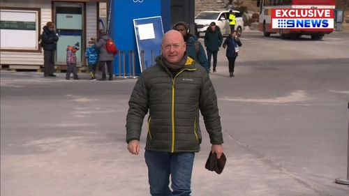 Tony Coady flew to Pyeongchang from Melbourne to see his daughter compete. (9NEWS)