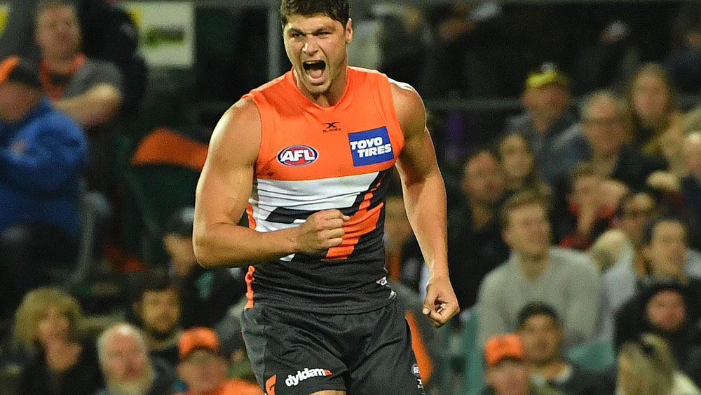 Jonathon Patton enjoyed a night out for the Giants. (AAP)
