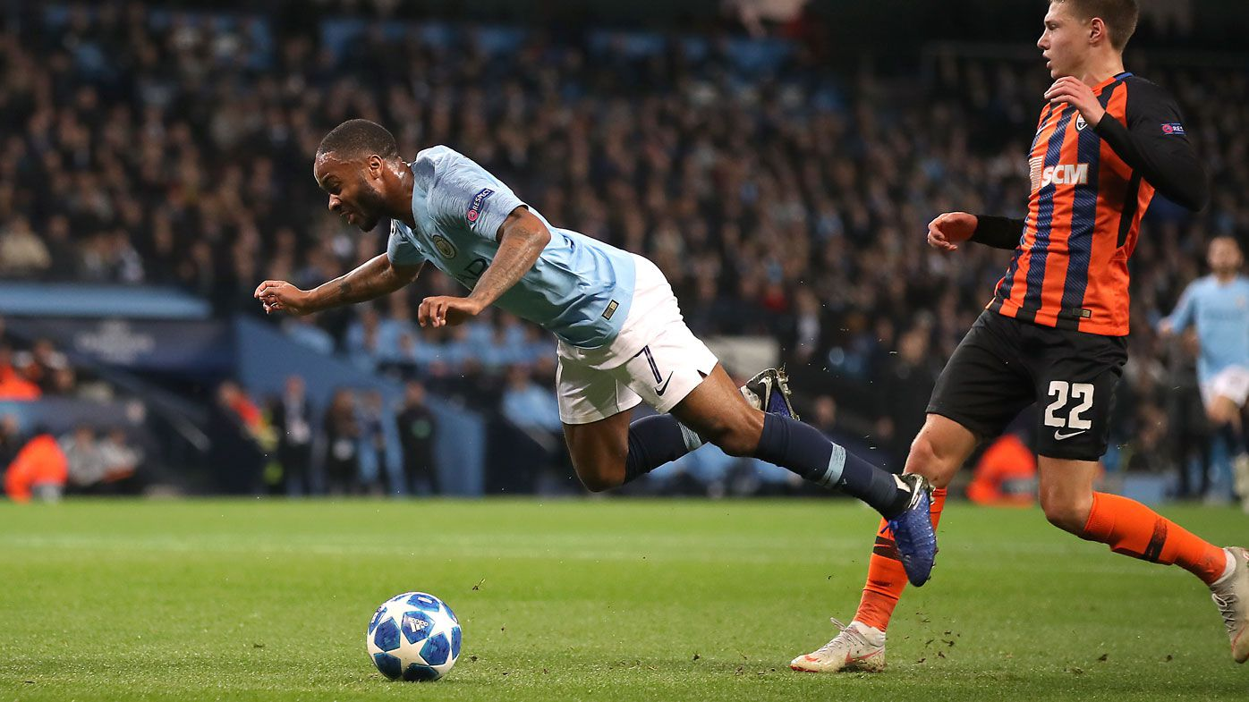 Raheem Sterling wins ludicrous Champions League penalty by tripping himself over