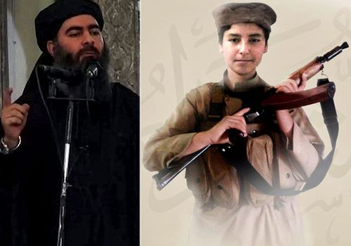 Islamic State leader Abu Bakr al-Baghdadi, left, and his son Huthaifa al-Badri who has been reportedly killed in Syria. (Photos: AP).