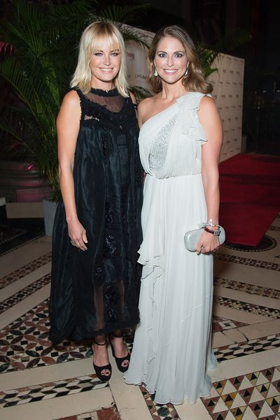 Princess Madeleine of Sweden and actress Malin Akerman at the World Childhood Foundation Gala in New York, September 16, 2016