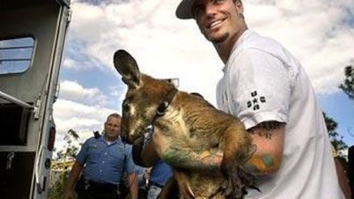 "Rapper Vanilla Ice has a pet kangaroo called Bucky Buckaroo. The marsupial shares an enclosure with his ""lover"" - a female pot bellied pig.<p></p> ""Kangaroos will hump anything. I think the pig likes it,"" says Vanilla. ""There's also a goat in there who he grew up with but they're just friends.""<br/><br/>"