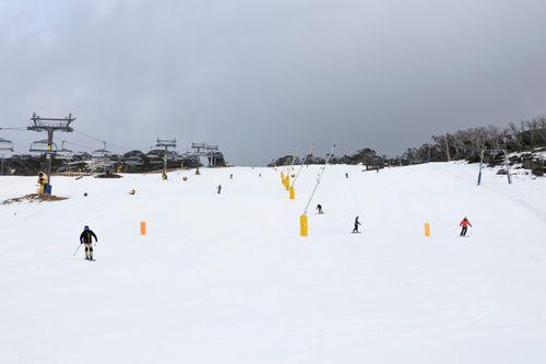 Skiers cut fresh tracks down a run at Perisher.