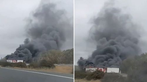 A Target truck on fire on a NSW Highway.