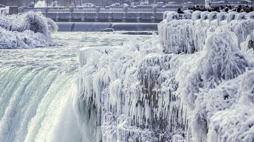 Parts of the natural wonder have been covered in icicles. (AAP)