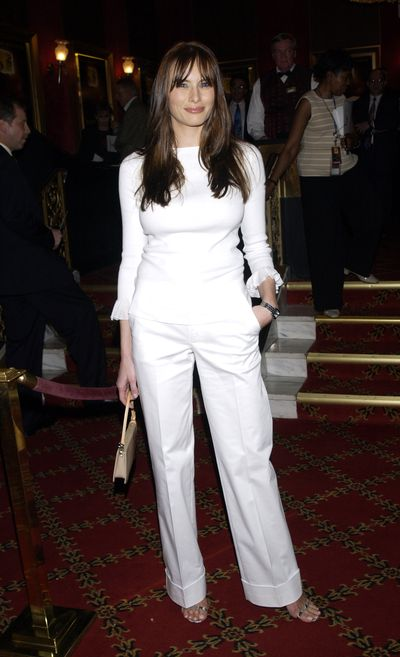 The luxury of all white suggests that there's no need to worry about the dry-cleaning bill. Melania at the New York Premiere of 'Murder by Numbers' at Ziegfeld Theatre.