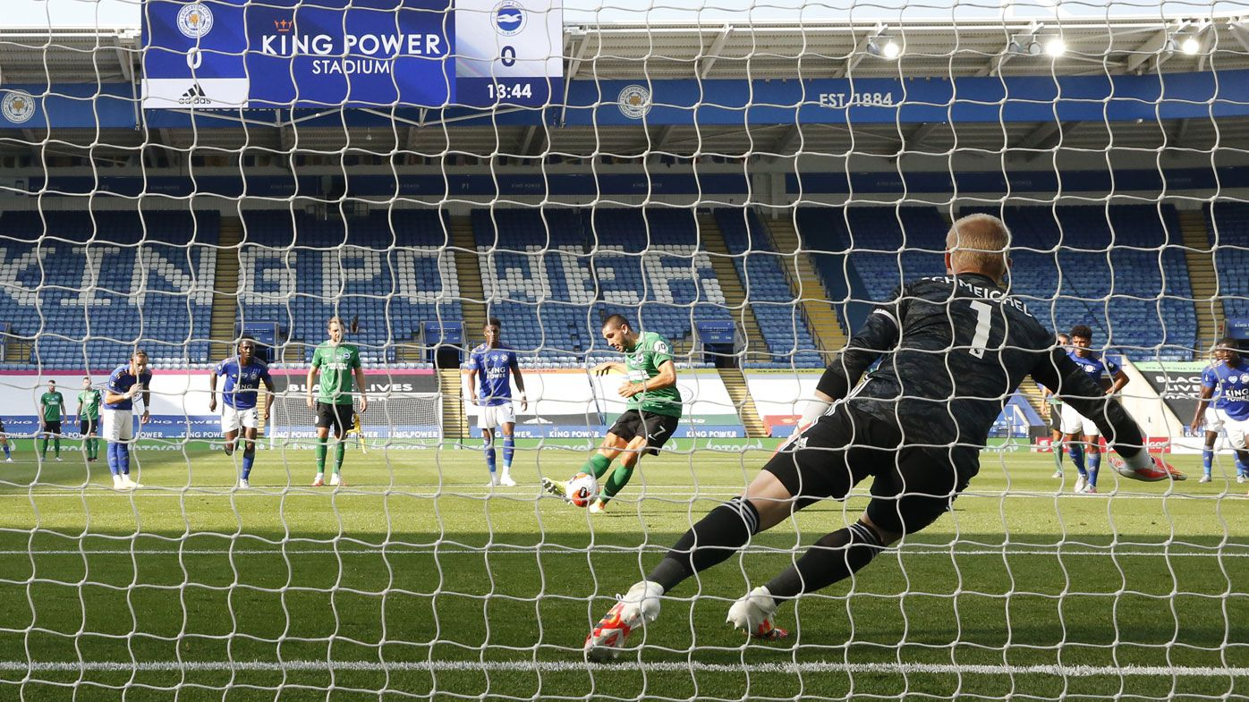 Brighton miss penalty, golden chance to power clear of EPL drop zone at Leicester