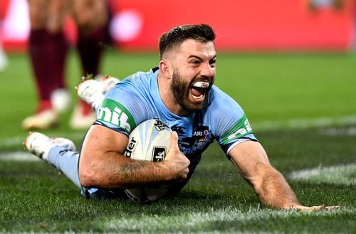 James Tedesco crossed the try-line for NSW with seconds on the clock in the first half. Picture: AAP.