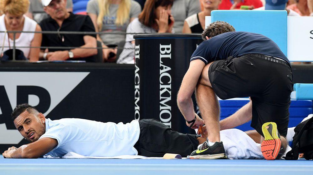 Kyrgios overcomes Brisbane injury scare