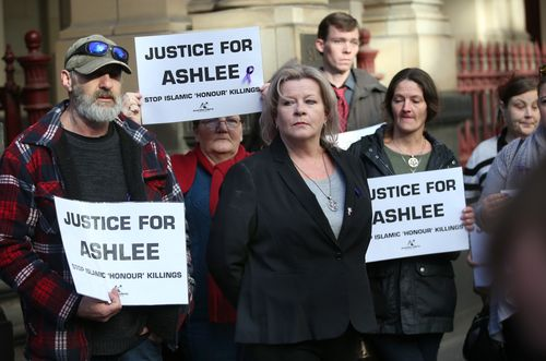 The mother of Ashlee Brown, Siobhann Brown, is joined by family and supporters outside the Supreme Court today. Picture: AAP