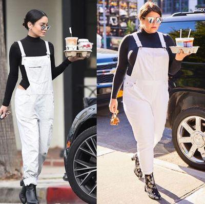 Plus-size blogger Katie Sturino replicating Vanessa Hudgen's look