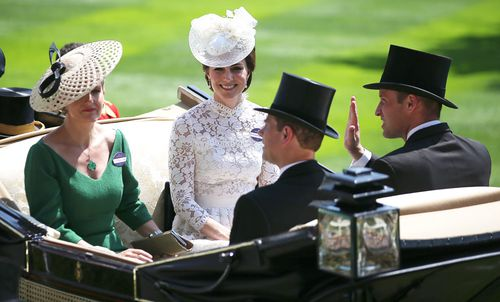 Sophie, Countess of Wessex (L), Catherine, Duchess of Cambridge (2L), Prince Edward, Earl of Wessex (2R) and Prince William arrive at last year's event.