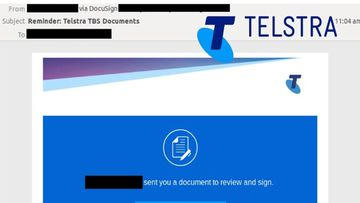 The email uses Telstra branding.