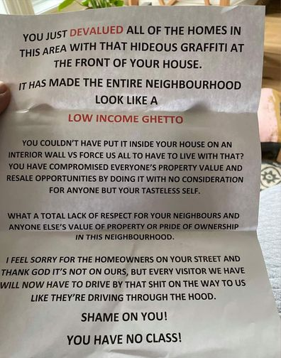 A woman's painted garage resulted in a nasty letter from an angry neighbour