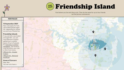 Three Sydney mates have created Friendship Island, an interactive map to see where their 5km radius meets.