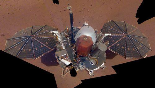 NASA's Mars lander used its robotic arm to take a selfie.