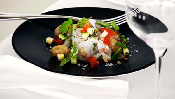 Kingfish ceviche with salted grapes, zucchini and verjuice dressing
