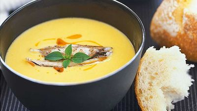 "Recipe: <a href=""http://kitchen.nine.com.au/2016/05/19/19/57/matt-moran-crab-and-sweetcorn-soup"" target=""_top"">Matt Moran's crab and sweetcorn soup</a>"