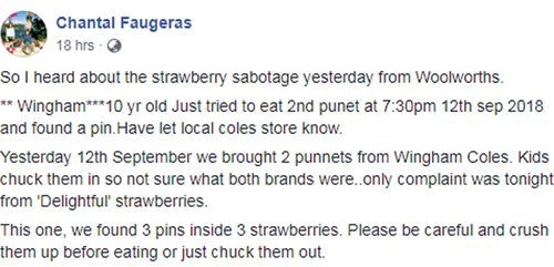 "In the post Ms Faugeras says her 10-year-old discovered a pin embedded in a strawberry while eating a punnet they had bought from the Coles at Wingham. ""We found 3 pins inside 3 strawberries,"" Ms Faugeras wrote."