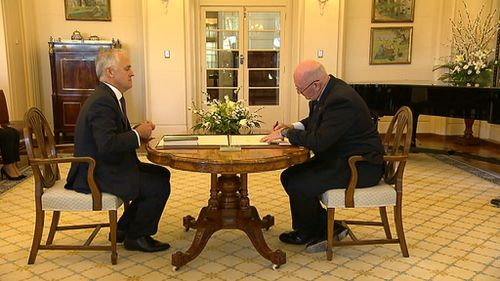 Turnbull's swearing in ceremony as Prime Minister was brief. (9NEWS)