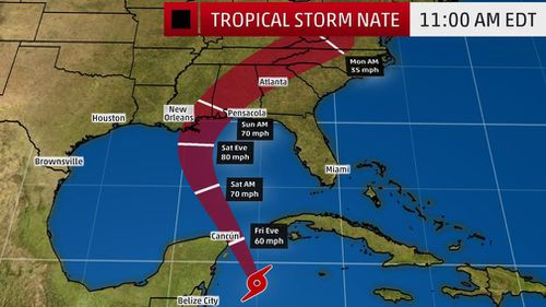 Tropical Storm Nate's projected path. (weather.com)