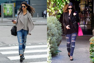 <br/><br/>Ripped jeans? Check. Loose blazer? Check. Even the hair shade is similar.