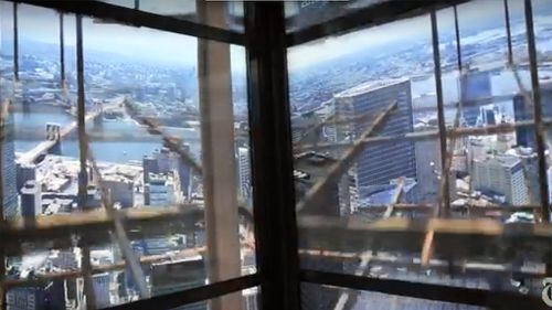 As visitors near the top of the building, the simulation shows the construction of the building around them. (NY Times)