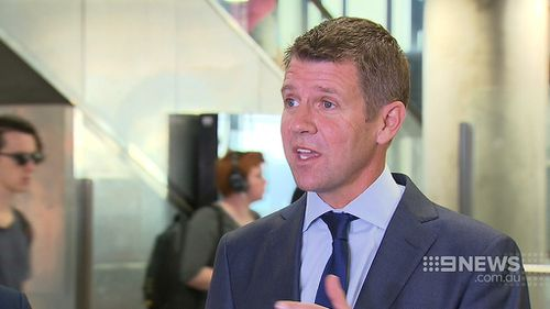 NSW Premier Mike Baird at an announcement in Parramatta today. (9NEWS)