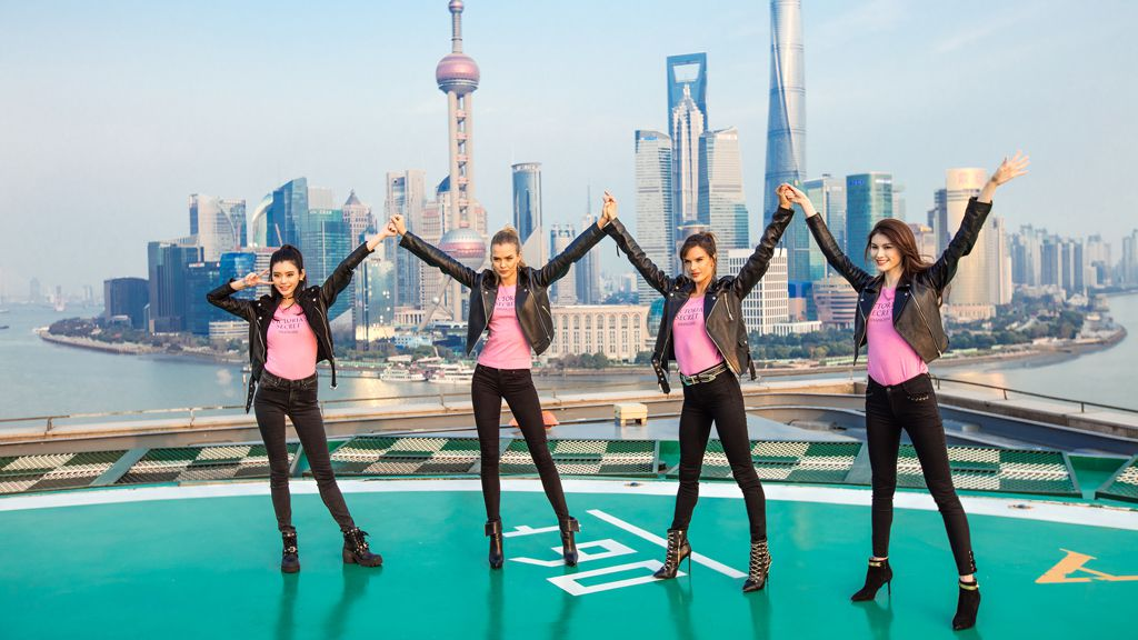The Victoria's Secret welcome in the sights of Shanghai. Image: Getty