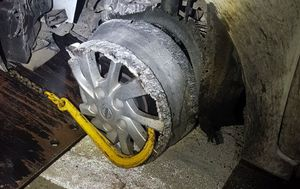 Man caught drink driving after driving without tyre