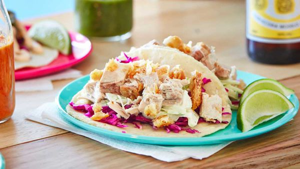 Pork belly tacos with fennel and apple slaw. Image: Flavours of Urban Melbourne 2 (Smudge Publishing)