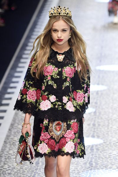 Lady Amelia Windsor walks the runway at the Dolce & Gabbana show during Milan Fashion Week Fall/Winter 2017/18 on February 26, 2017.