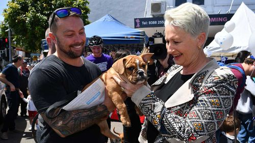 Kerryn Phelps pats a dog while campaigning in Wentworth.
