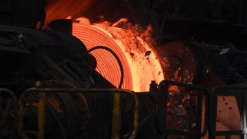 Australian steel being made at the Port Kembla Steelworks. (AAP)