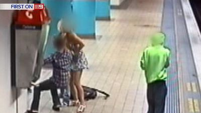 The alleged thieves are busted by the victims, leading to a brawl on the platform. (9NEWS)