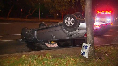 Police found the 4WD on its roof near an Adelaide park. (9NEWS)