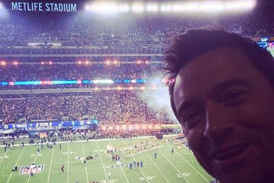 ...while Hugh Jackman showed his support for the Broncos with a supreme Super Bowl selfie.
