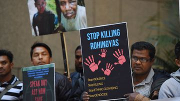 'Stop Killing Rohingyas': At least 400 people have been killed in the Rakhine state in recent clashes. (AAP)