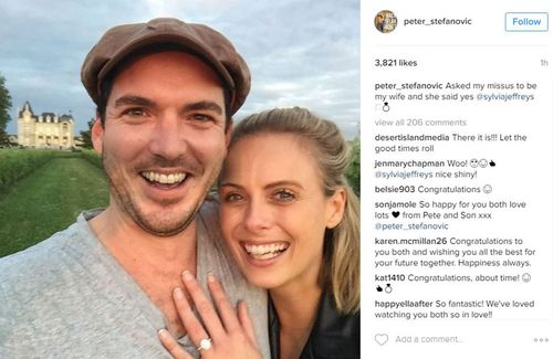 The couple are in Europe celebrating the engagement. (Instagram: @peter_stefanovic)