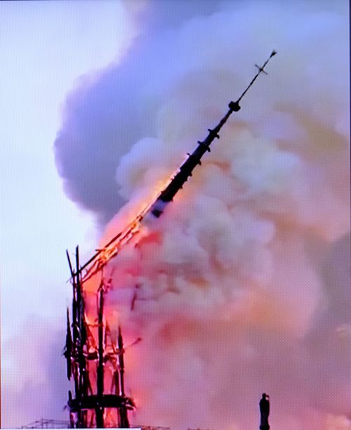 The moment the spire collapsed.