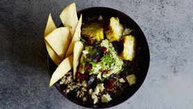 Coriander quinoa and corn bowl with tortilla chips