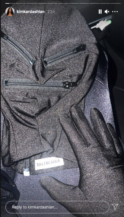 Kim Kardashian shared a preview of her outfit for West's show.