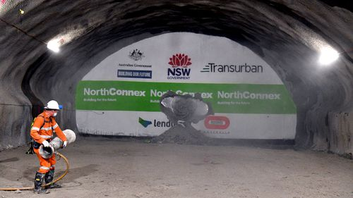 About 21 kilometres of tunnelling is being carried out for NorthConnex. The two main nine kilometre tunnels will carry motorists between the M1 Pacific Motorway and the Hills M2 Motorway. (AAP)