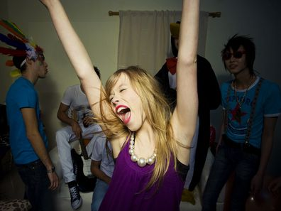 Woman happy at party single