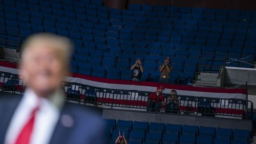 TrumpPresident Donald Trump supporters cheer as Trump speaks during a campaign rally at the BOK Center.