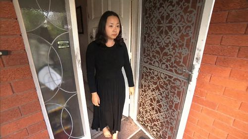 Bora Kim relives the terrifying moment a masked man tried to break into her home. Picture: 9NEWS