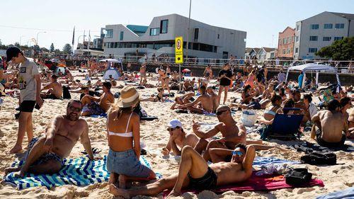 Crowds on Bondi Beach on a public holiday.