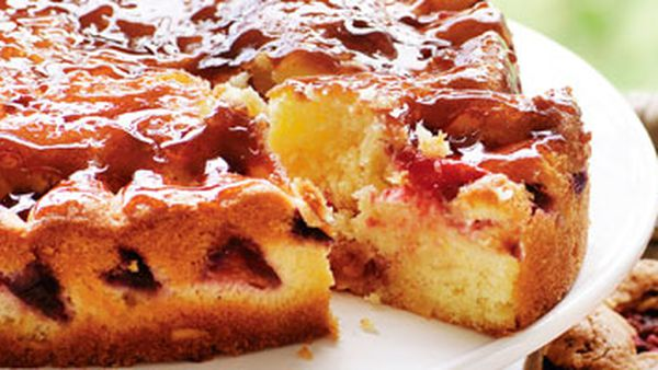 Glazed plum cake
