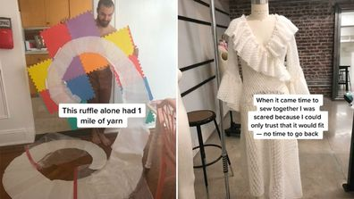 Bride knits her own wedding dress for nine months while commuting to work